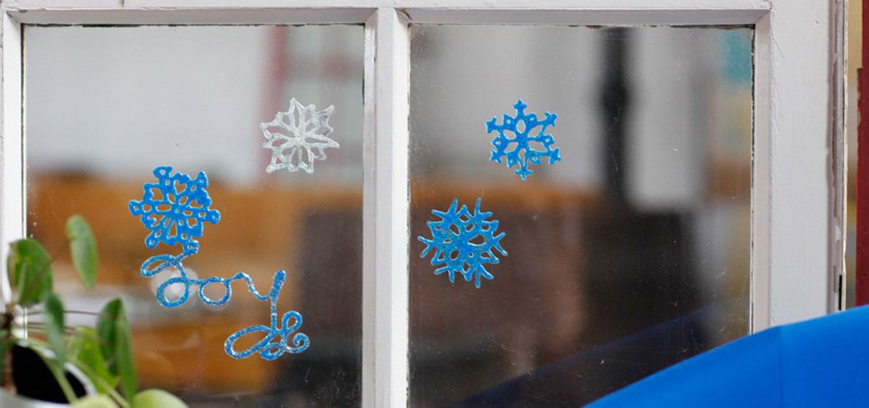 glittery snowflake window clings - Window Clings