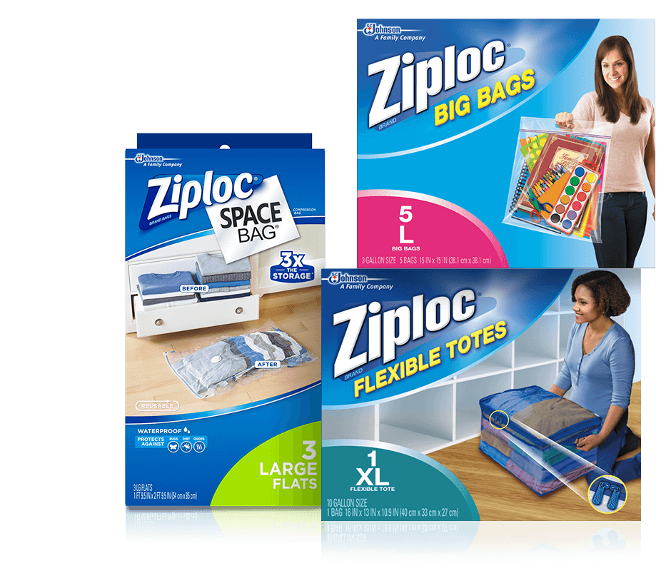 Ziploc® Space Bag® Large Flat, Ziploc® 5L Big Bags, Ziploc® Flexible Tote XL.